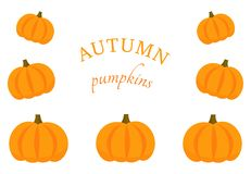 Pumpkins border background stock illustration