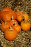 Pumpkins on brown hay bales Stock Photos