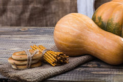 Pumpkins and bunches Stock Image