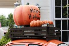 Pumpkins Burning on car stock photography