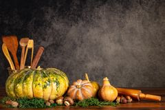 Pumpkins, butternuts and mushrooms with cooking ustencils and rolling pin on a table over a vintage background with copy space royalty free stock photos