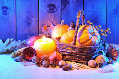 Pumpkins in candle light Royalty Free Stock Images