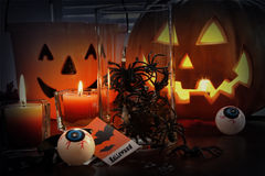 Pumpkins and candles for Halloween Royalty Free Stock Image