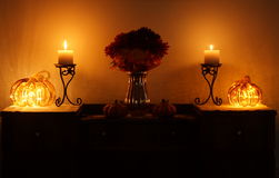 Pumpkins and Candles 2 Stock Images