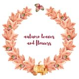 Pumpkins, candles, maple leaves, oak leaves. Background for Halloween. Watercolor. stock illustration