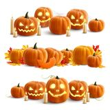 Pumpkins And Candles Realistic Compositions. For decoration halloween or thanksgiving day holidays vector illustration stock illustration