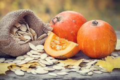Pumpkins and canvas bag with pumpkins seeds on wooden table. Royalty Free Stock Photography