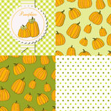 Pumpkins collection set. Pumpkins collection. Paper label and seamless patterns with Gingham, Polka Dot and Pumpkins on dark and light background. Perfect for Royalty Free Stock Photo