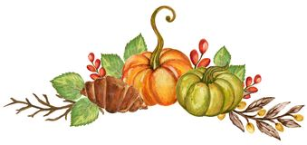 Pumpkins and colorful leaves Watercolor gouache Autumn Fall Hand stock illustration