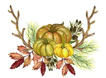 Pumpkins and colorful leaves Watercolor gouache Autumn Fall Hand royalty free illustration