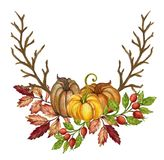 Pumpkins and colorful leaves Watercolor gouache Autumn Fall Hand vector illustration
