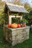 Pumpkins on the coping of a well. After harvest during autumn Royalty Free Stock Images
