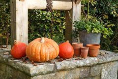 Pumpkins on the coping of a well. After harvest during autumn Stock Photos