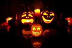 Pumpkins in the dark Royalty Free Stock Images