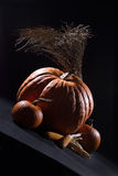 Pumpkins in the dark Royalty Free Stock Photography