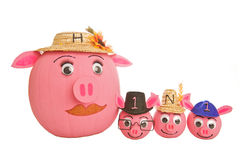 Pumpkins decorated as H1N1 swine flu. Family of swine pumpkins depicting the H1N1 swine flu virus currently circulating and causing illness in many individuals Stock Photography