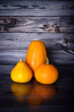 Pumpkins for decoration. Orange Pumpkins for decoration in front of a wooden background Royalty Free Stock Photos