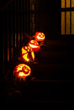 Pumpkins decorations  on a door steep Royalty Free Stock Photos