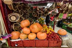 Pumpkins on display in South American Market Stock Photos