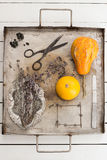 Pumpkins and Dried Lavender Flowers on a Vintage Tray Still Life Royalty Free Stock Photos