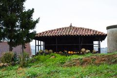 Pumpkins drying in a typical wooden granary called horreo Stock Photos