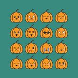 Pumpkins emoticon set design inspiration royalty free illustration