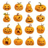 Pumpkins with emotional faces for Halloween party. Halloween pumpkins with emotional faces. Autumn holiday symbol or lantern made of vegetable, night of evil royalty free illustration