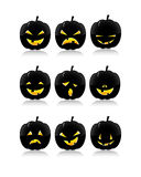 Pumpkins facial expressions. Cute Halloween isolated vector pumpkin faces set, with various expressions, collection Stock Images