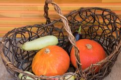 Pumpkins and fall harvest decorative vegetables in a wicker basket for Thanksgiving decoration stock image