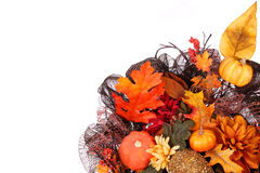 Pumpkins and Fall Leafs. Autumn or Thanksgiving Bouquet Stock Photos