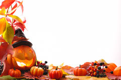 Pumpkins with fall leaves Stock Images
