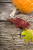 Pumpkins and fall leaves on a wooden table Stock Photos