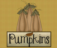 Pumpkins Fall Season Background. First a textured golden colored background was created. Next, I added prim looking pumpkins with a pumpkins sign below. This was royalty free illustration