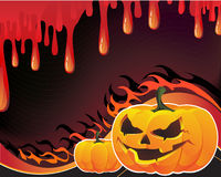 Pumpkins, flame and fire. Flaming pumpkin monster on the bloody background Royalty Free Stock Image