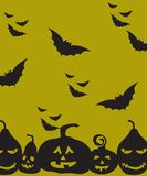 Boo! We wish you a happy halloween!. Pumpkins and flying bats over green backdrop. Halloween clean design Stock Images