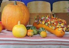 Pumpkins and food skewers Stock Image