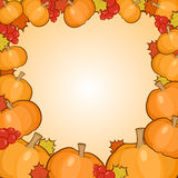 Pumpkins frame background, autumn border Stock Image