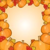 Pumpkins frame background, autumn border Stock Image