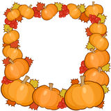 Pumpkins frame background, full autumn border Stock Photos