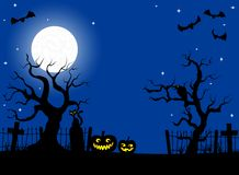 Pumpkins in a full moon night at cemetery Stock Photography