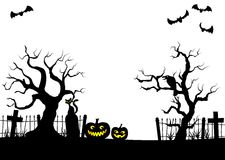 Pumpkins in a full moon night at cemetery Stock Photo
