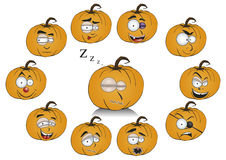 Pumpkins with funny faces Stock Photography