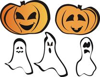 Pumpkins and ghost. Set for Halloween for design or wallpaper. editable Stock Image