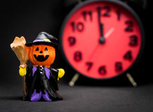 Pumpkins ghost counting down to halloween party Stock Images