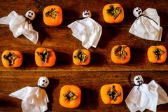 Pumpkins and ghosts royalty free stock photo