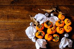 Pumpkins and ghosts royalty free stock photos