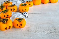 Pumpkins and ghosts royalty free stock photography