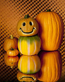 Pumpkins Glowing and Doubled Up Stock Photography