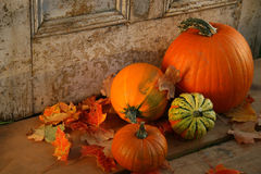 Pumpkins and gourds. At the door ready for halloween stock photo