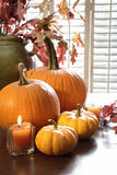 Pumpkins and gourds with candle Stock Images